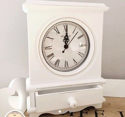 Shabby Chic White Vintage Style Wooden Mantle Carriage Clock With Drawer