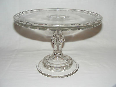 """Antique Victorian 10"""" Early American Pressed Glass Thumbprint Cake Stand Server"""