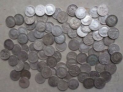 90 X Silver Threepence Coins. Mixed Dates. Christmas Pudding. Job Lot.