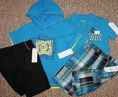New! Boys 4 pc Summer Lot (1 DC Shoes & 1 Calvin Klein Outfit; Shorts ) - Size 4