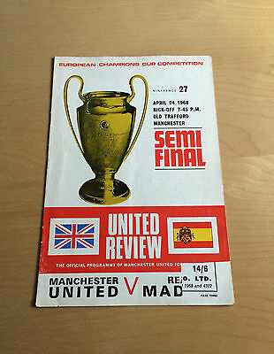MANCHESTER UNITED v REAL MADRID : European Cup Semi Final April 24, 1968