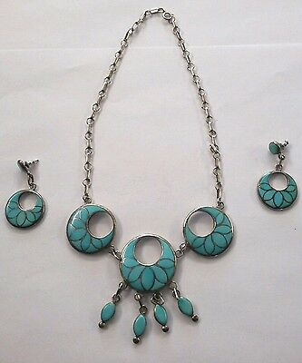Vintage Zuni Frank Vacit Turquoise Sterling Silver Mosaic Necklace & Earring Set