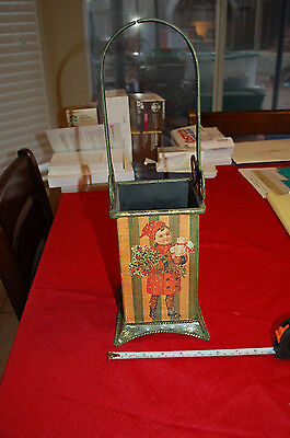 Antique replica Metal Christmas Wine stand holder. Umbrella box tin Striped