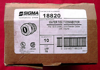 "TEN (10) Sigma Electric 18820 Watertight Cable Connectors 1/2"", UPC 031857188207"