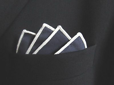 Navy cotton white edge Pocket Square/ Handkerchief. see photos and shop. smart