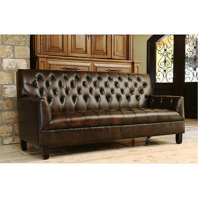 84''L Bonded 2 Tone Brown Leather Tufted Artsy Sofa-Wood Legs.