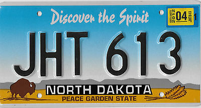 Authentic 2012 North Dakota Buffalo License Plate # Jht 613 Excellent