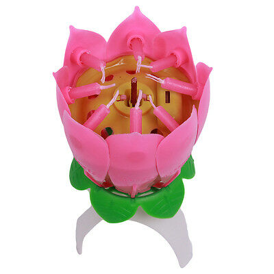 Pink Amazing Musical Rotating Lotus Flower Birthday Candle Party Sparkling
