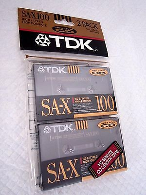 CASSETTE TAPE BLANK SEALED - pack of 2 (two) TDK SA-X 100 [1991] (type II)