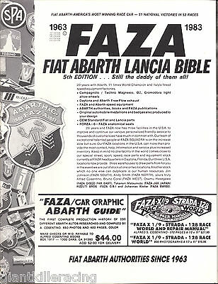 FAZA FIAT-ABARTH-LANCIA BIBLE 5th Ed. 1963-1983 20th Anniversary Edition Catalog
