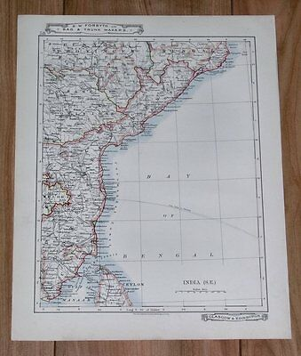 1907 Original Antique Map Of India /  Andra Pradesh Madras / Goa Mumbai Bombay