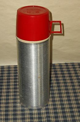 Vintage Retro Thermos #2284 Ribbed Aluminum / Glass Liner 1 Pint Complete