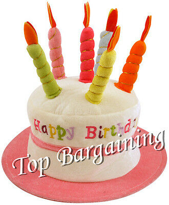 HAPPY BIRTHDAY NOVELTY PLUSH CAKE HATS WITH CANDLES PARTY HAT Skin pink