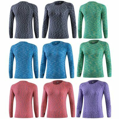 Womens Long Sleeve Compression Ladies Thermal Gym Sports Base Layer Dry Fit Top