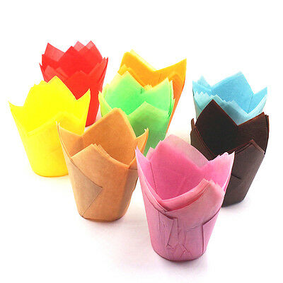 50pcs Multi Color Tulip Cake Muffin Chocolate Cupcake Bakeware Baking Cup Mold