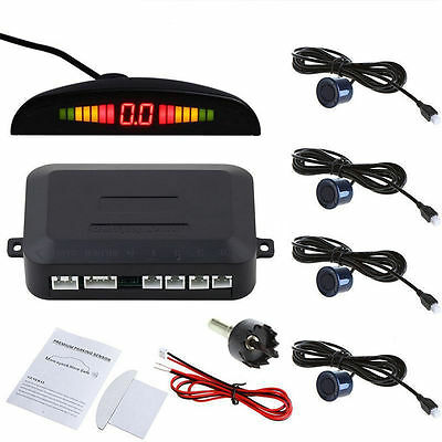 4 Parking Sensor Car Reverse Backup Rear Radar System Kit LED Sound Alert Alarm~