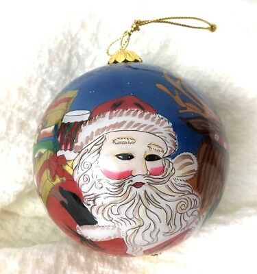 Hand Painted Santa Claus Christmas Ball Ornament 2001 Reindeer Presents Art