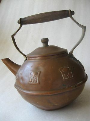 Antique Old  Copper Kettle With Wooden Handle & Finial