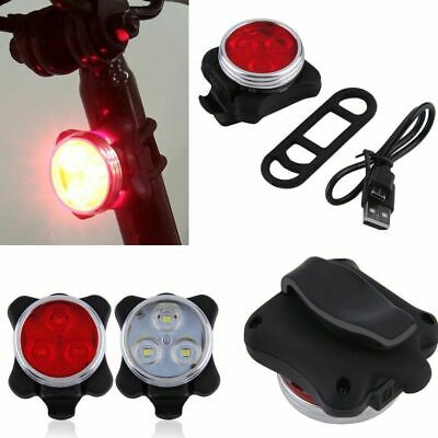 Cycling Bike Bicycle Head Front + Rear Tail 3 LED light USB Rechargeable 4 modes