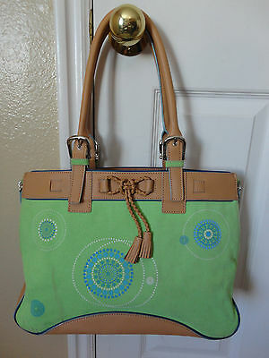 Franklin Covey Green Canvas Tote Leather Trim Expansion Zippers Very Nice