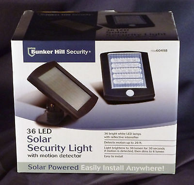 BUNKER HILL Brand 36 LED Solar Security Light with Motion Detector NEW