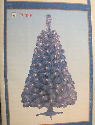 CHRISTMAS PURPLE Holiday Tree Lavendar Pre-Lit 4 Foot Clear Bulbs Indoor Use
