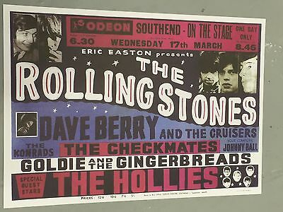 Rolling Stones - Concert Poster Odeon Southend U.k. Wednesday 17Th March (A3Size