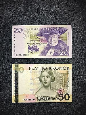 20 & 50 Kronor, SWEDEN Banknote, World Money, Foreign Currency, So Beautiful !!!