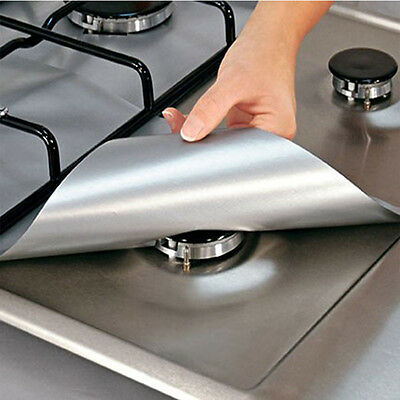 4PCS Reusable Aluminum Foil Gas Stove Burner Cover Protector Cleaning Pads