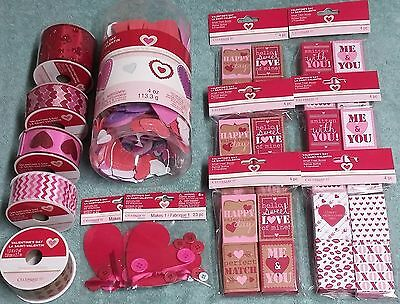Michaels Valentine's Day Decorations Lot Ribbon Treat Boxes Foam Stickers Craft