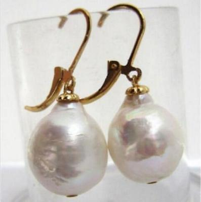 Classic AAA+ 10-13mm natural South sea white Baroque pearl earrings 14k gold