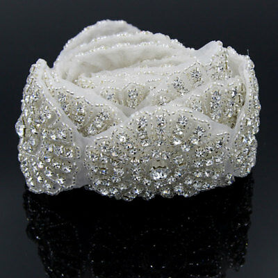 1yd Crystal Rhinestone Applique Flower Beaded Trim for Bridal Sash Belt Headband