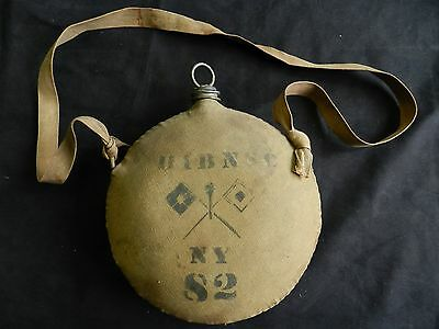 Antique Spanish American Indian War Canteen N.Y. 82 Infantry Signal Corp