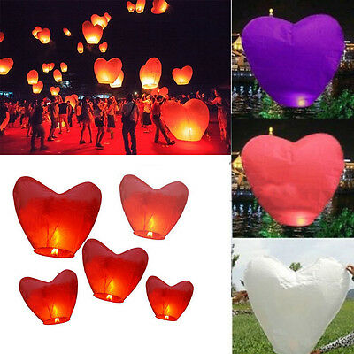 1/20x Wish Chinese Lantern Heart Shape Paper Sky Fire Lamp Wedding Party Holiday