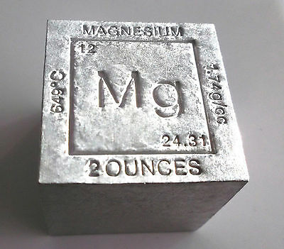 2 ounce Magnesium Metal Element Periodic Table Cube metal bullion