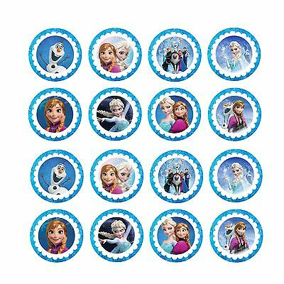 16x EDIBLE Frozen group Cupcake Toppers Wafer Paper 4cm (uncut)