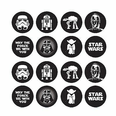 16x EDIBLE Star Wars icons Cupcake Toppers Wafer Paper 4cm (uncut)
