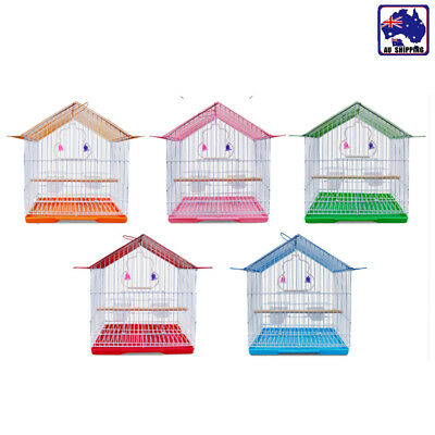 28x25x18.5cm Bird Cage Parrot Pet Carrier Portable Metal Feeder Perch PKEN401