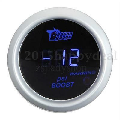 "Universal 2"" 52mm -14~30 PSI Blue Digital LED White Boost Gauge For Motor Car"