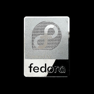 Powered by fedora Linux Metal Decal Sticker Case Computer PC Laptop Badge