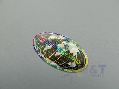 HOLOGRAPHIC LABELS STICKERS OVAL SIZE 15mmX27mm MADE IN IRELAND SECURITY LABEL