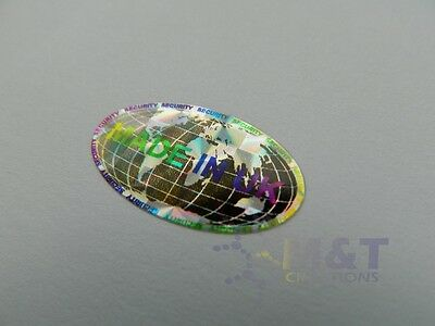 HOLOGRAPHIC LABELS STICKERS OVAL SIZE 15mmX27mm MADE IN UK SECURITY LABEL