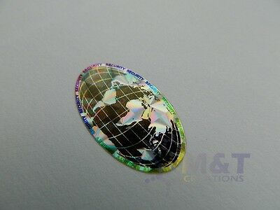 HOLOGRAPHIC LABELS STICKERS OVAL SIZE 15mmX27mm GLOBE HOLOGRAM SECURITY LABEL
