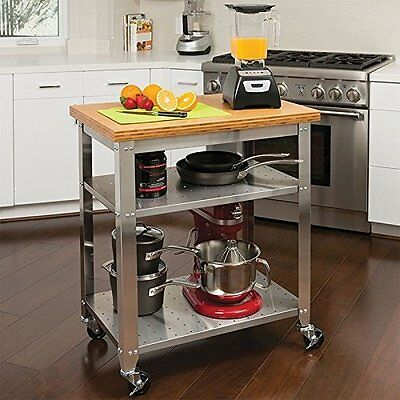 Seville Classics Heavy Duty Stainless Steel Kitchen Prep Table with Bamboo Top