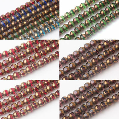 20/40Pcs 8mm Rondelle Faceted Crystal Glass Finding Charms Loose Spacer Beads