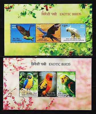 India Mint Nh Miniature Sheet On Exotic Birds 2 Different