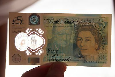 £5 Five Pound Note Plastic New 2016 Serial No. AK58 166399 UK
