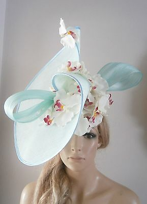 Aqua/ivory/fascinator/percher/hat/vintage/feather/ascot/wedding/bride/beret