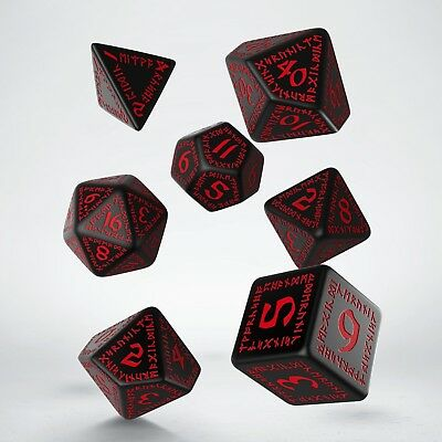 Black & red RUNIC dice set by Q-workshop for D&D RPG