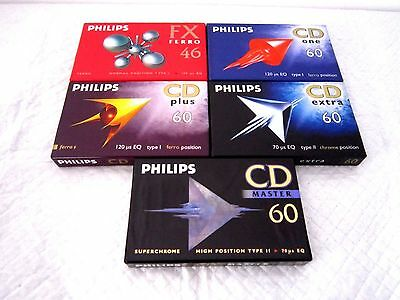 Lot of 5 x PHILIPS FX CD ONE PLUS EXTRA MASTER - CASSETTE TAPES BLANK SEALED